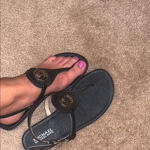 Black Michael Kors Capri Thong Sandals